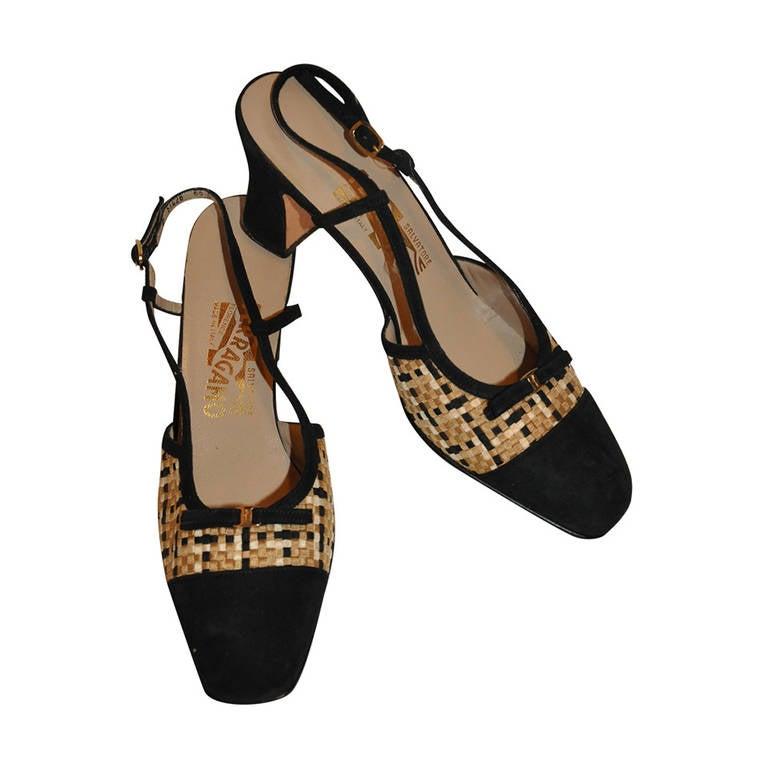 Salvatore Ferragamo Woven Silk & Suede Sling-Back Shoe 1