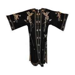 """Vintage Kimono of Hand-Embroidered """"Floral with Branches & Leaves"""""""