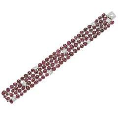 Belperron Cabochon Ruby Diamond Cobblestone Bracelet