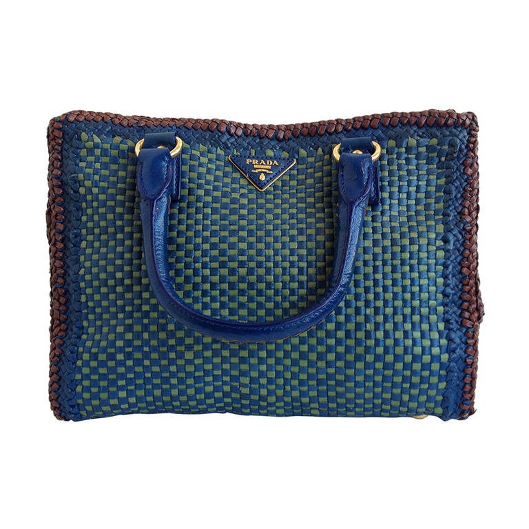 prada bags sale online - Prada Green and Blue Woven Limited Edition Purse at 1stdibs