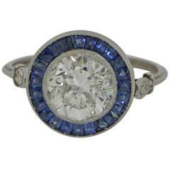 Sapphire Diamond Platinum Solitaire Ring