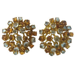Ilias Lalaounis Moonstone Citrine Gold Earrings