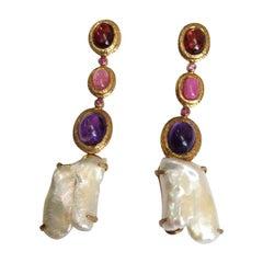 Mid Century Modern Multi Gem Gilt Silver Dangle Earrings Estate Find