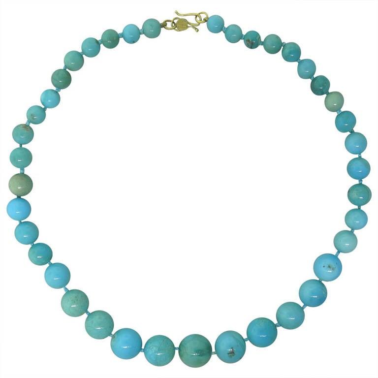 Angela Carrubba Pintaldi Turquoise Bead Gold Necklace