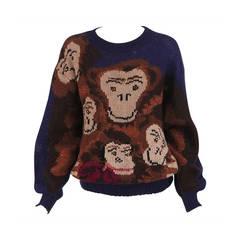 1980s Krizia Maglia The Monkey Family knit sweater