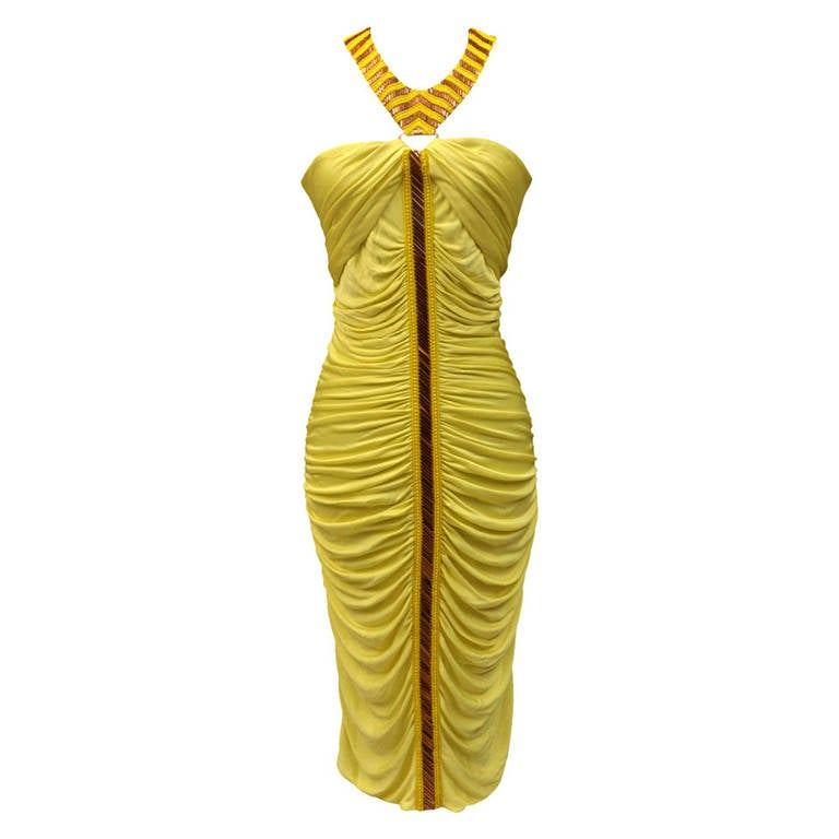 Versace embellished yellow ruched dress