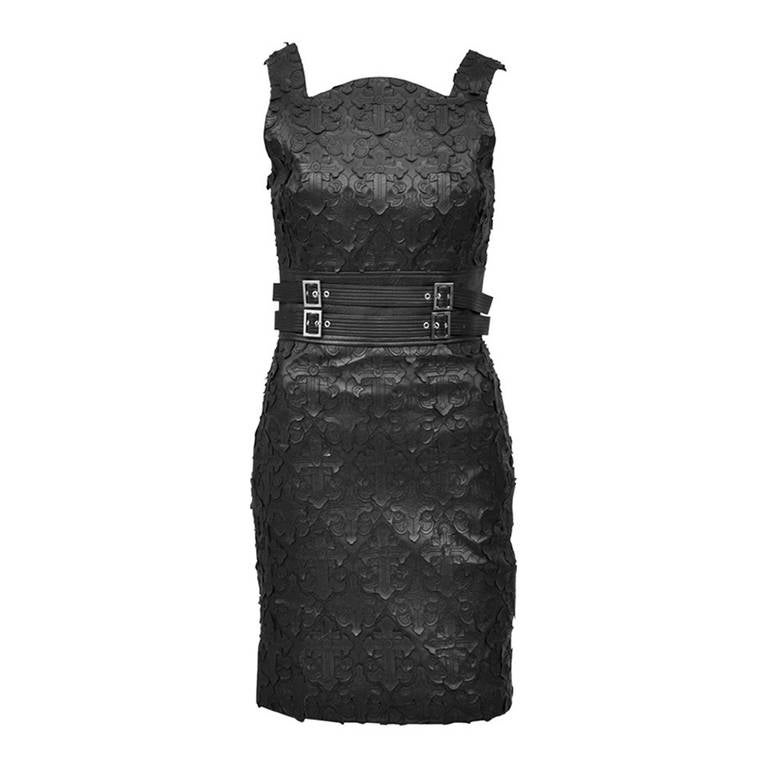 Versace Textured Leather Sheath Dress For