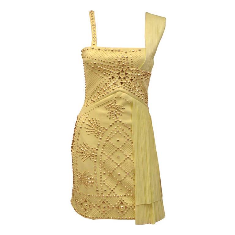 VERSACE Yellow studded plissé and scuba-jersey dress For Sale