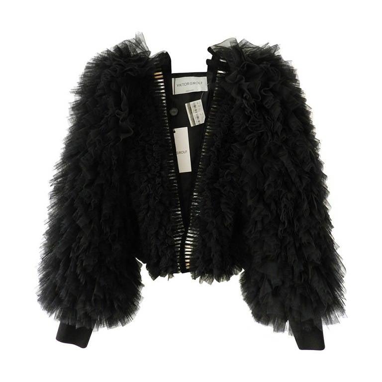 Viktor & Rolf Black Tulle Jacket with Mirror trim 1