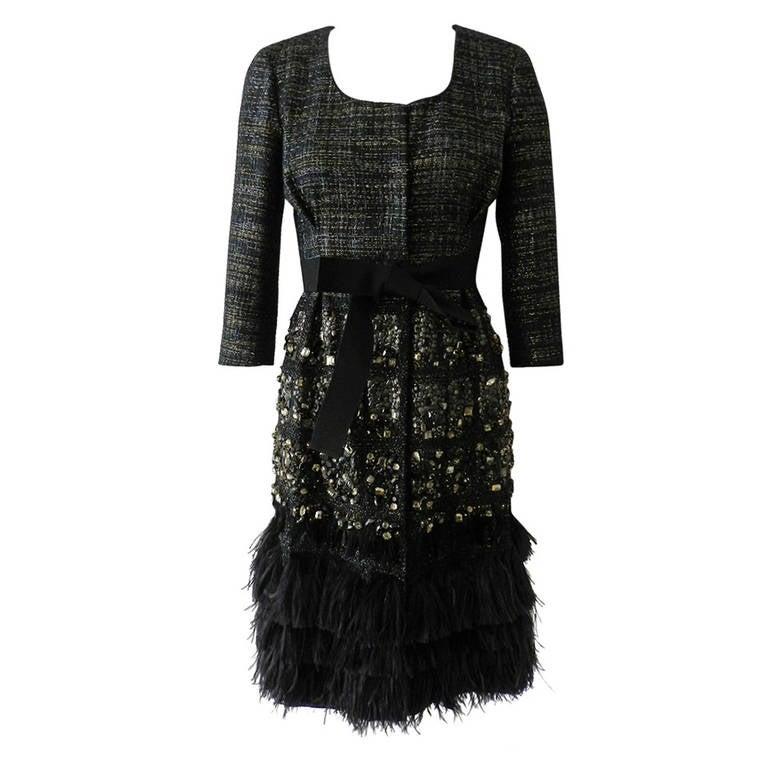Giambattista Vali Haute Couture Crystal Beaded Feather Trim Jacket 1