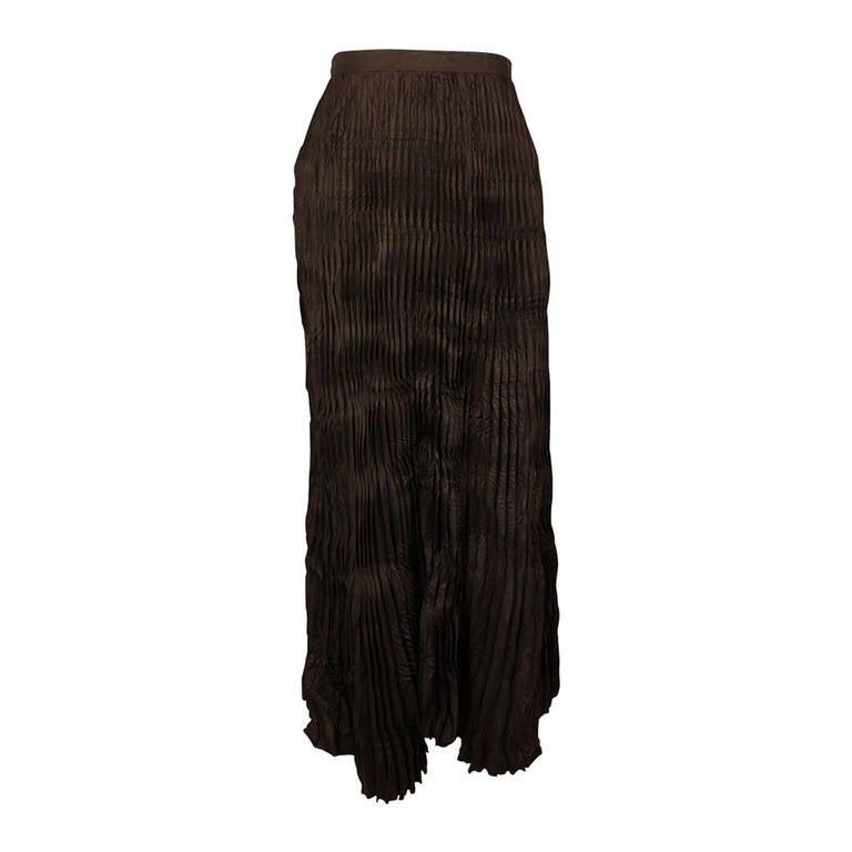 Issey Miyake 1990s Full Length Crinkled Accordion Pleated Skirt