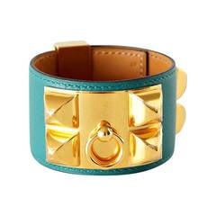 Hermes Bracelet CDC Collier de Chien Cuff Malachite Gold New