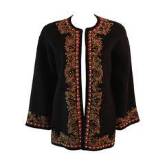 Oscar De La Renta Alpaca Wool Blend Embroidered Sweater Size 10