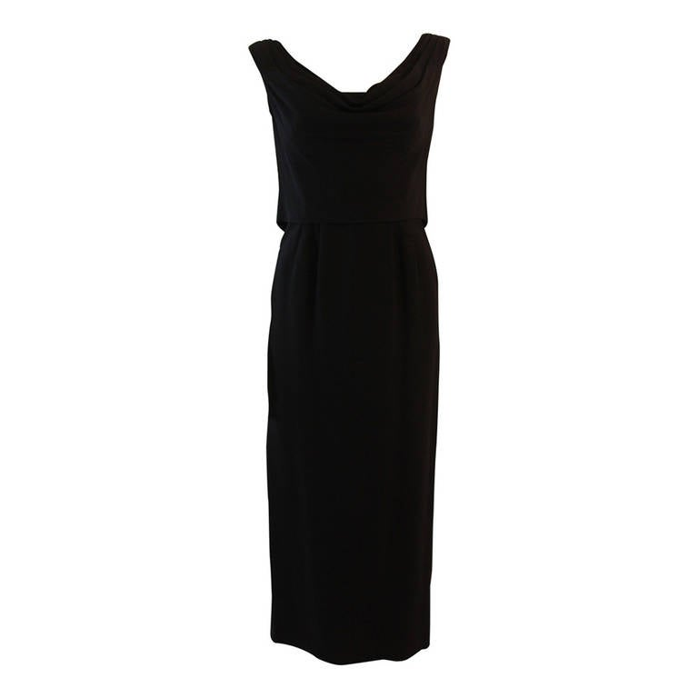 Dorothy O'Hara Black Silk Crepe Gown with Drape front split back design 1