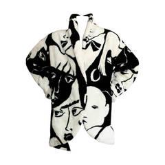 Incredible Vintage Faux Fur Oversized Face Print Plush Donnybrook Coat