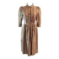 Caroline Charles London Metallic Embroidered rhinestone Dress Size 8