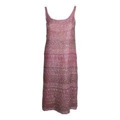 Halston 1970s Blush Pink Beaded Party Dress