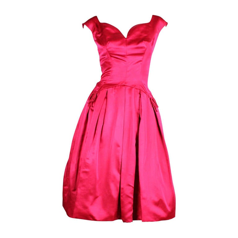 1950's Frank Starr Magenta Satin Cocktail Dress 1