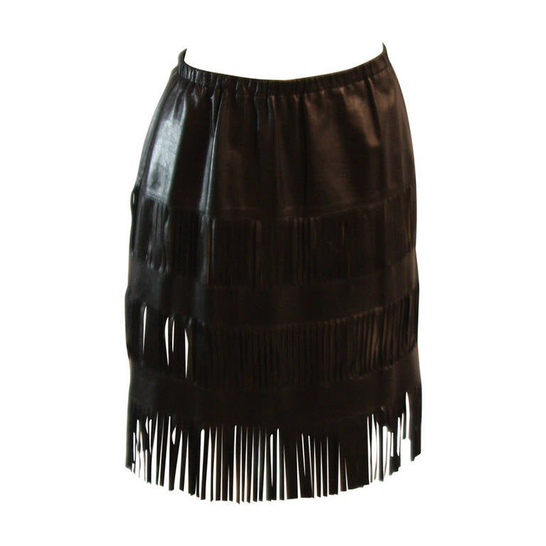 gucci black lightweight leather skirt with fringe size 42