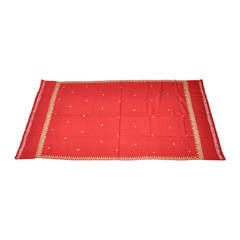 Deep Red Wool Challis with Metallic Gold Lame Hand Embroidery Shawl