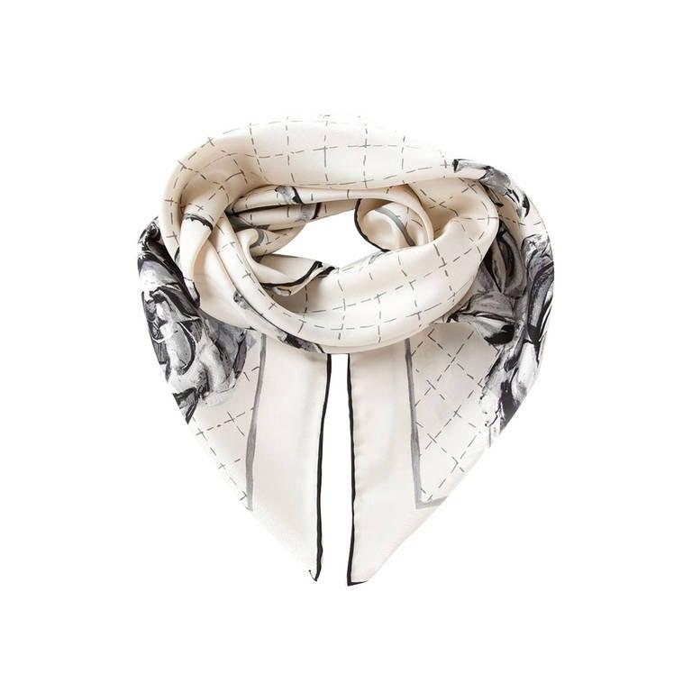 chanel vintage floral logo scarf at 1stdibs