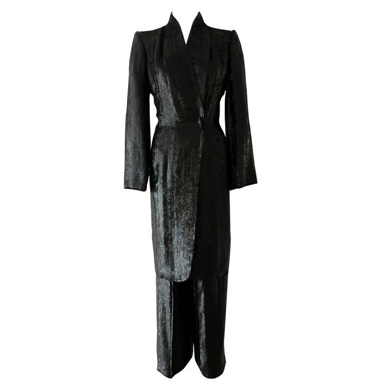 Alexander Mcqueen Givenchy Haute Couture Black Lesage Sequin Pant Suit At 1stdibs