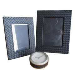 Bottega Veneta Black Intrecciato Leather Desk Accessories