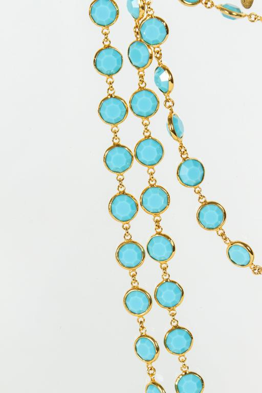 Women's Chanel Sautoir with Faceted Turquoise Stones For Sale