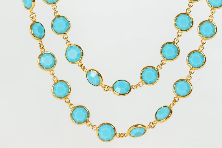 Chanel Sautoir with Faceted Turquoise Stones In Excellent Condition For Sale In Los Angeles, CA