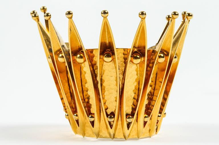 Unique Gold Gilt Crown Cuff Bracelet by Sorrell Originals 2