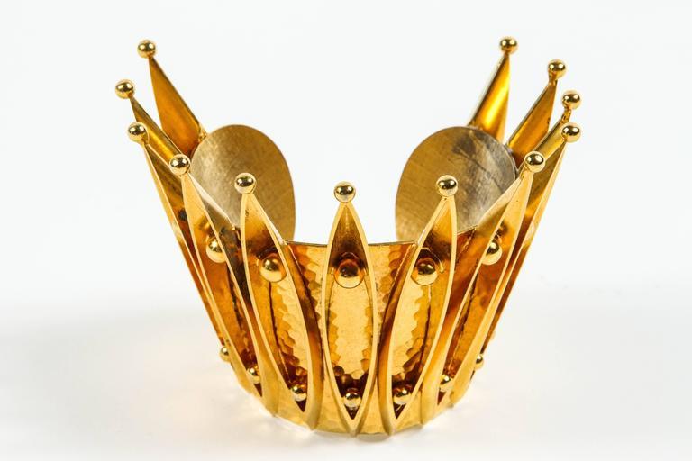 Unique Gold Gilt Crown Cuff Bracelet by Sorrell Originals 3