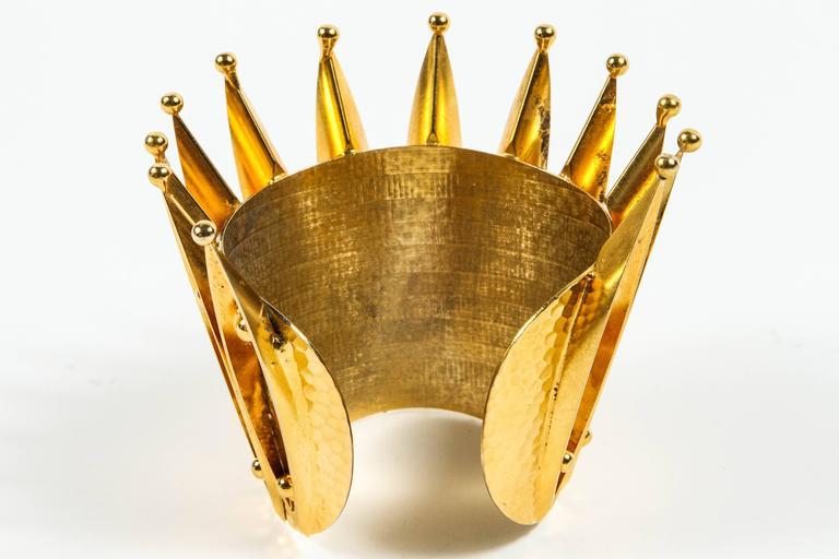 Unique Gold Gilt Crown Cuff Bracelet by Sorrell Originals 4