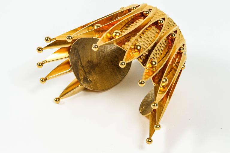 Unique Gold Gilt Crown Cuff Bracelet by Sorrell Originals 6