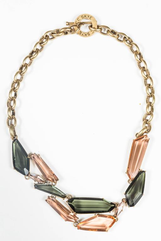 Gilt Metal & Faceted Crystal Necklace by CC Skye 3
