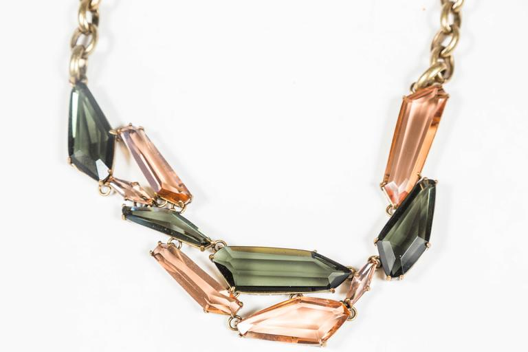 Gilt Metal & Faceted Crystal Necklace by CC Skye 5