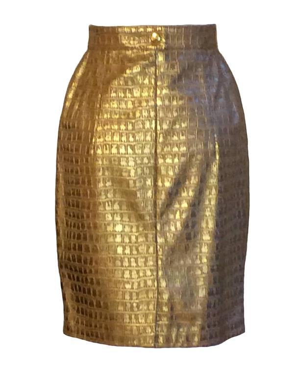 escada by margaretha ley 1980 s gold croc embossed leather