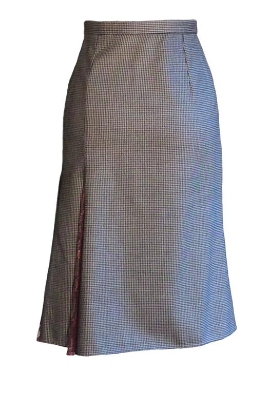 Dolce & Gabbana Black and White Houndstooth Pencil Skirt with Mauve Lace Accents 3