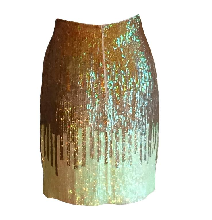 Versace Collection gold and light lime sequin pencil skirt. Back zip and hook and eye.