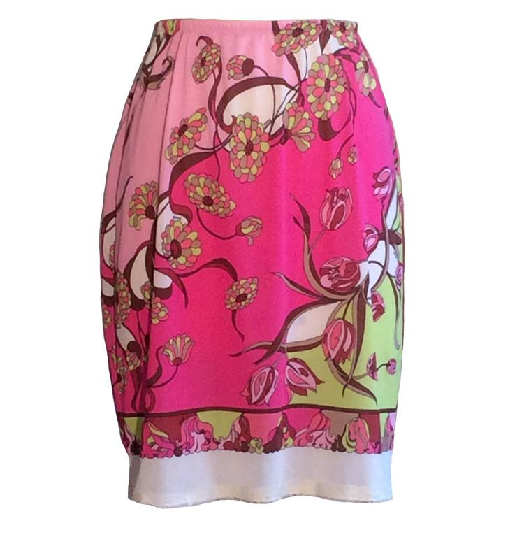 Emilio Pucci for Formfit Rogers 1960s Pink Floral Pucci Print Half Slip Skirt  For Sale
