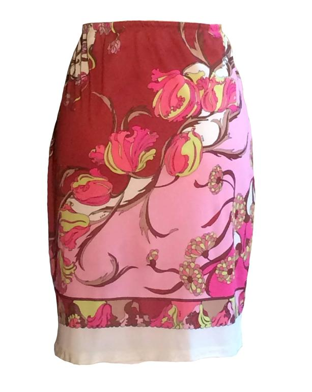 Emilio Pucci for Formfit Rogers 1960's pink floral Pucci print slip skirt with elastic waist and lace trim. Signed EPFR throughout. Makes a great pool cover up!