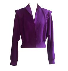 Adolph Schuman for Lilli Ann 1970s Grape Purple Crepe Short Blouson Jacket