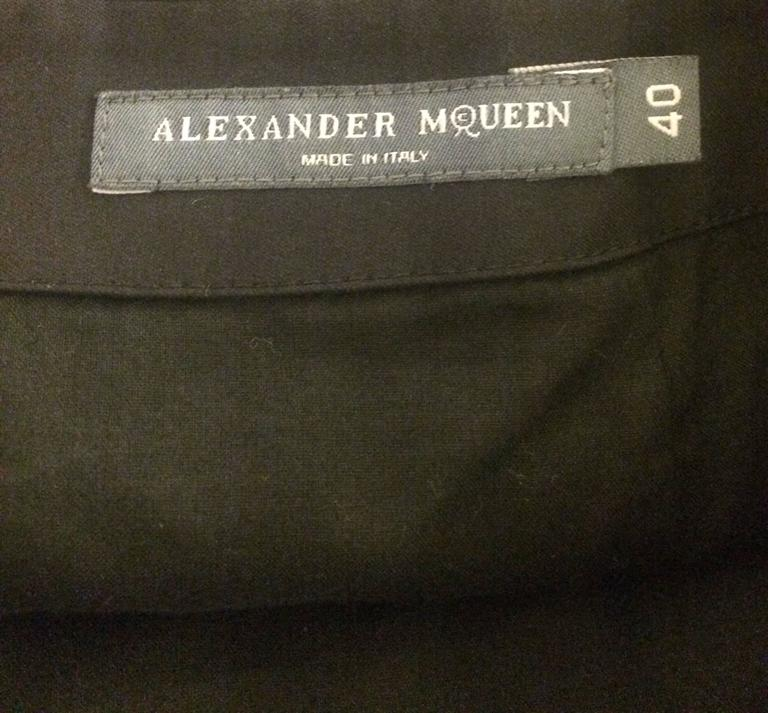 Alexander McQueen Spring 2007 Black Pencil Skirt White Floral Embroidery 4
