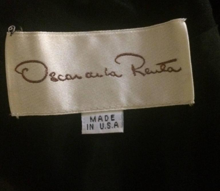 Women's Oscar de la Renta 1990s Long Sleeve Black Dress with Velvet Swirl Detail For Sale