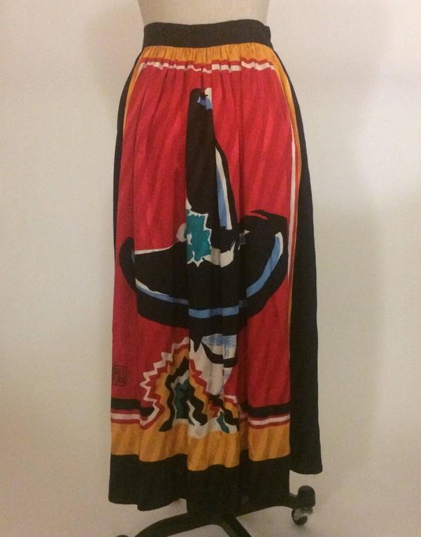 Michaele Vollbracht 1980s Red, Yellow, Black Silk Man in Sombrero Maxi Skirt 2