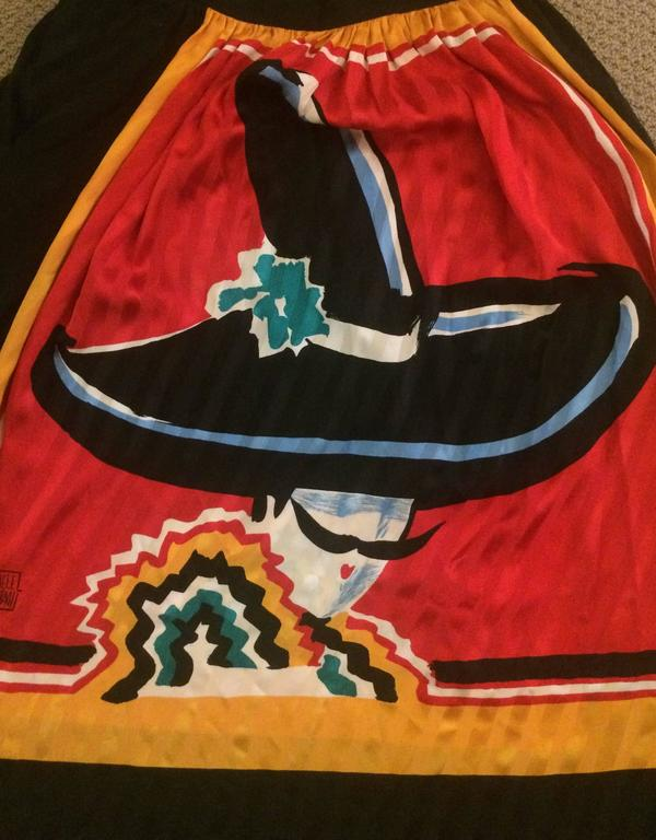 Brown Michaele Vollbracht Red Yellow Black Silk Man in Sombrero Maxi Skirt, 1980s  For Sale