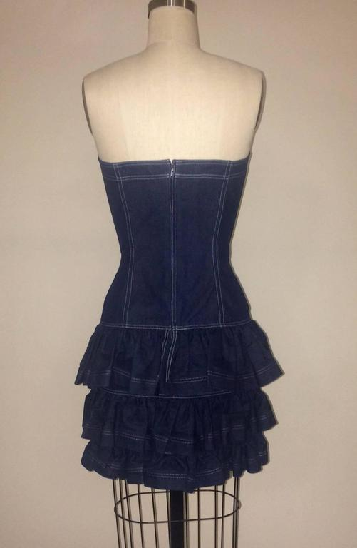 Patrick Kelly 1980s Dark Blue Denim Strapless Tiered Ruffle Skirt Sun Dress 2