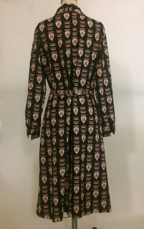 Lanvin Vintage 1960s Navy Crown and Shield JL Logo Belted Shirt Dress 2