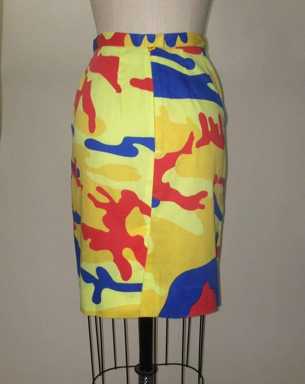 Stephen Sprouse 1980s Warhol Camouflage Print Yellow, Red, Blue Pencil Skirt 2