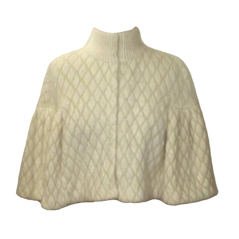 Alexander McQueen New with Tags Cream Angora Diamond-Jacquard Cape Capelet For Sale