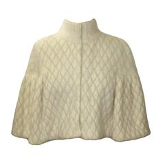 Alexander McQueen New with Tags Cream Angora Diamond-Jacquard Cape Capelet